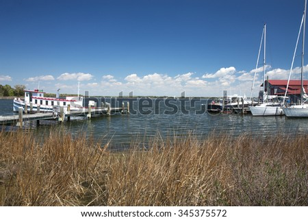 St Michael's Water View at the Chesapeake Bay Maritime Museum in Maryland. - stock photo