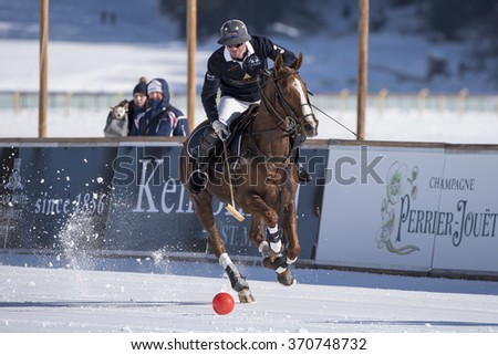 St. Moritz - January 30,2016:  Game actions  at the Snow Polo World Cup St.Moritz 2016