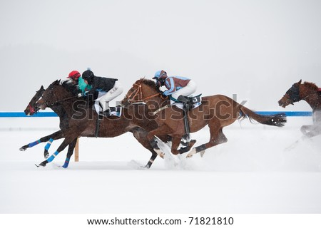 ST. MORITZ, SWITZERLAND  - FEBRUARY 20:  First race of the day - Grand Prix Prestige won by Libretto (#1), jockey: Minarik Filip on February 20, 2011 in St. Moritz, Switzerland - stock photo