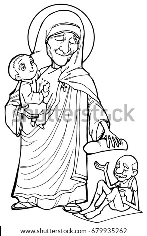 St Mother Teresa Black White Stock Illustration 679935262 - Shutterstock