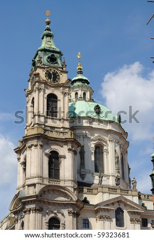 St. Nicholas Cathedral exterior in Prague, Czech Republic. - stock photo