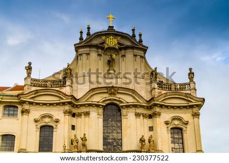 St.Nicholas Church in the quarter of Mala Strana in Prague in Central Europe - stock photo