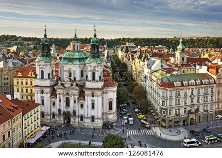 St. Nicholas Church, Old Town Square in the Czech Republic - stock photo