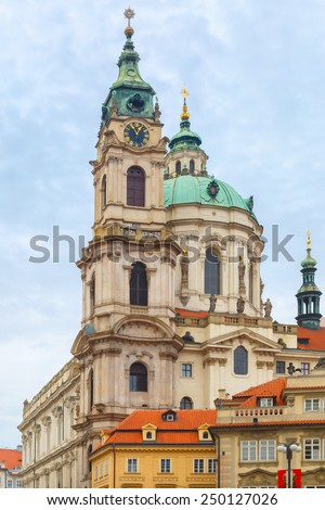 St. Nicholas Church, the baroque church on Lesser Town Square in Prague, Czech Republic - stock photo