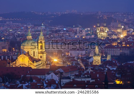 St. Nicolas Church in winter evening, Prague - stock photo