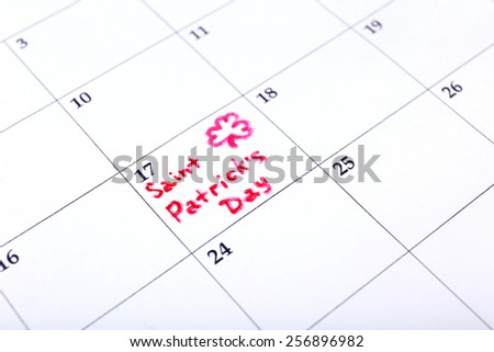 St. Patrick Date on calendar close-up - stock photo