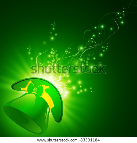 St.Patrick green hat with emerald shamrock over magic background - stock photo