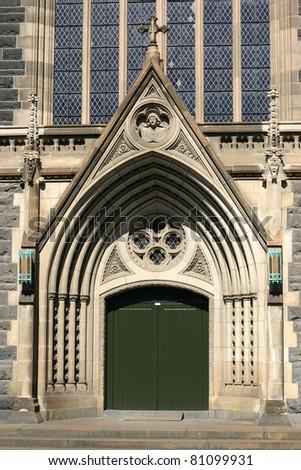 St. Patrick's Cathedral in Melbourne, Victoria, Australia. Main entrance - stock photo