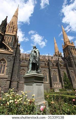 St. Patrick's Cathedral in Melbourne, Victoria, Australia. Roman Catholic church. - stock photo