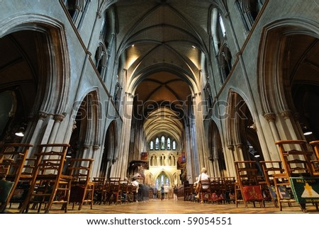 St. Patrick's Cathedral interior sanctuary in Dublin, Ireland. - stock photo