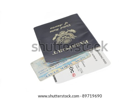 St. Patrick's Day Airline Boarding Pass Ticket with American Passport New York Drivers License Isolated on White Background - stock photo