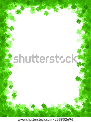 St. Patrick's day border / background with green clovers  - stock photo