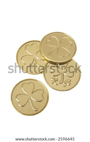St. Patrick's Day Gold Coins - stock photo