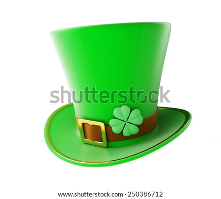 St. Patrick's day green hat on a white background - stock photo