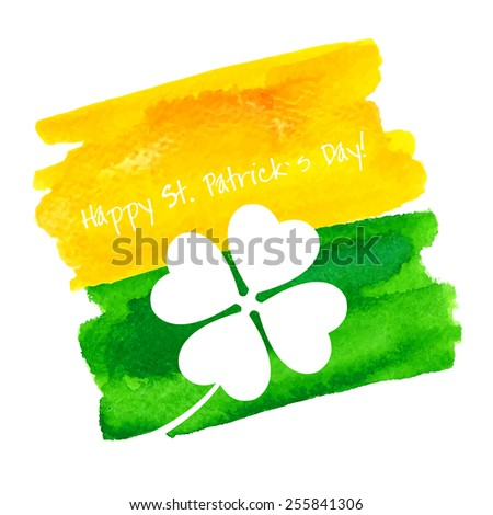 St. Patrick's Day Hand Made Watercolor Background or Card. - stock photo