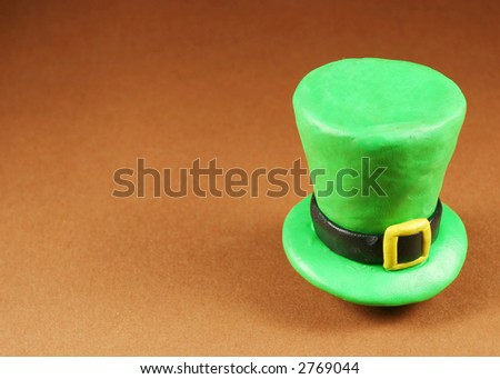 St. Patrick's Day hat, on brown