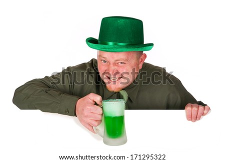St. Patrick's Day: Leaning Over White Card with a Green Beer