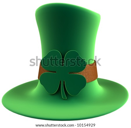 St. Patrick's day leprechaun's green velvet hat with four leaf clover decoration. High quality 3D rendering. Isolated over white background. - stock photo