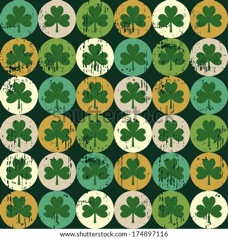 St Patrick's day shamrock seamless pattern - stock photo