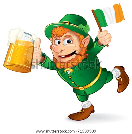 St Patrick's Day traditional celebration symbol - Colorful Cartoon illustration of a Happy Smiling Leprechaun with mug of lager beer and irish flag holding in hand - isolated on white - stock photo