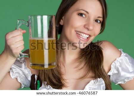St Patrick's Day Woman Holding Beer - stock photo