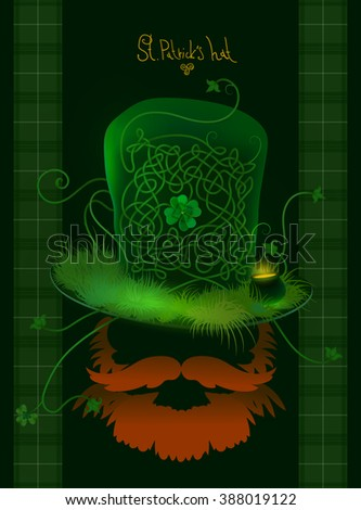 st. patrick`s hat with a beard - stock photo