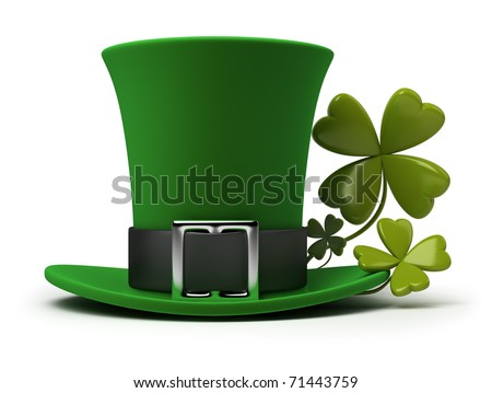 St. Patrick's hat with four-leaf clover. 3d image. Isolated white background. - stock photo
