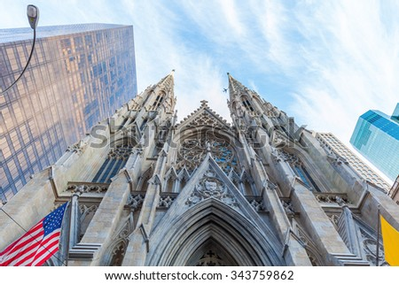 St Patricks Cathedral in downtown Manhattan, New York City - stock photo
