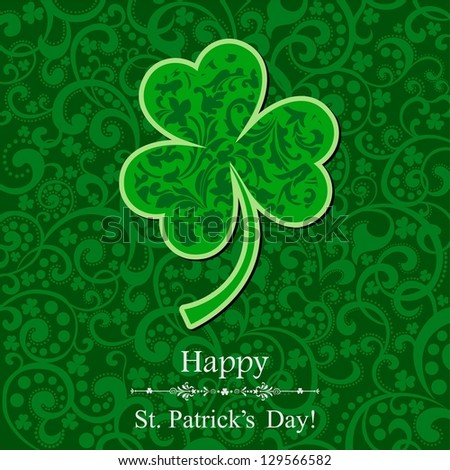 St. Patricks day background with clover. illustration. - stock photo