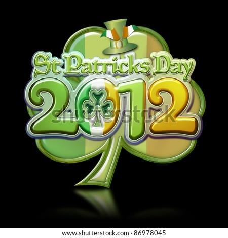 St Patricks Day 2012 Clover Graphic on black background with clipping path.