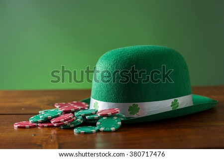 st. patricks day lucky green hat for playing poker