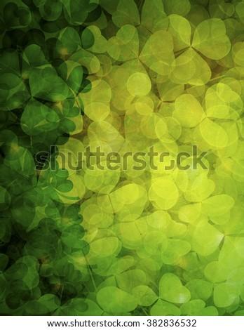 St Patricks Day Shamrock Leaves Border and Background Illustration - stock photo