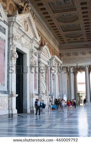 St Paul basilica in Rome  view of facade entrance with many tourists people