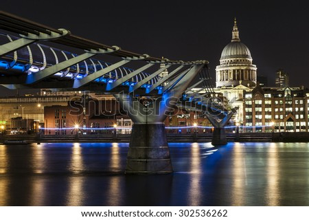 St. Paul Cathedral and Millennium Bridge in London