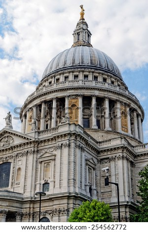 St. Paul Cathedral. The cathedral was the tallest building in London from 1710 to 1962. - stock photo