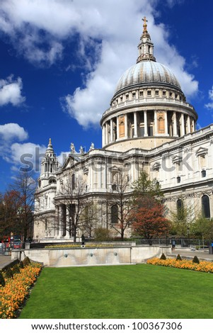 St. Paul Cathedral with green garden in London England United Kingdom - stock photo
