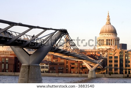 St.Paul Cathedral with Thames River Millennium Bridge. View from Tate Modern - stock photo