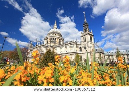 St. Paul Cathedral with Yellow Flower garden in London England United Kingdom - stock photo