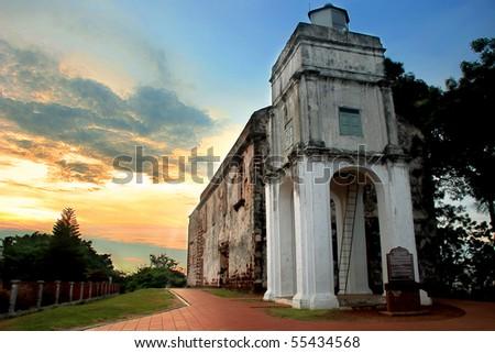 St.Paul Church, Malacca - stock photo