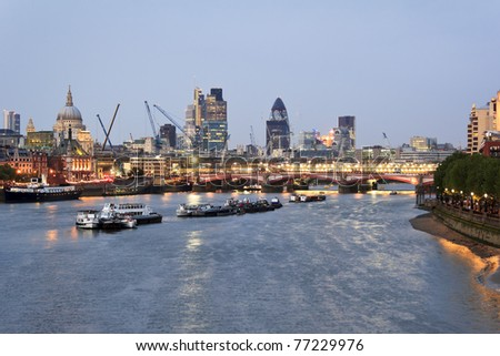 St Paul's Cathedral and Blackfriars Bridge at sunset - stock photo