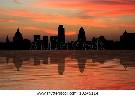 St Paul's cathedral and London skyscrapers at sunset illustration - stock photo