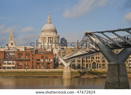 St. Paul's Cathedral and Millenium Bride - stock photo