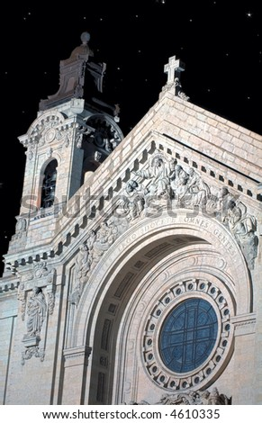 St Paul's Cathedral at Night - St Paul, MN - marble texture/grain - stock photo