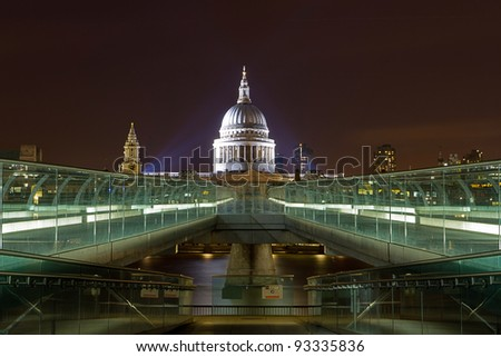 St Paul's Cathedral from the Millennium footbridge across the River Thames, London