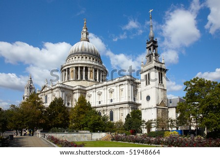 St Paul's cathedral in London and sky with clouds - stock photo