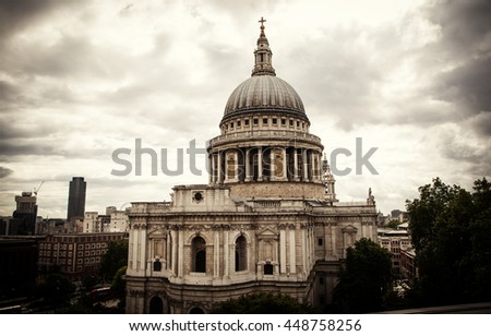 St Paul's Cathedral in, London, England, Great Britain - stock photo