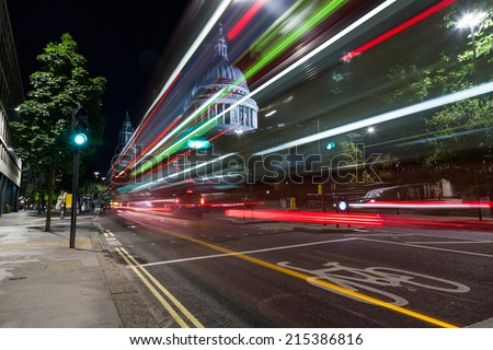 St Paul's Cathedral in London. Night shooting with slow shutter speed. - stock photo