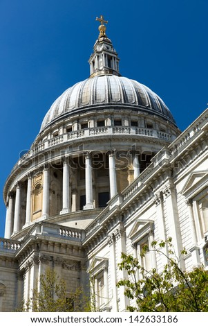 St Paul's Cathedral on a sunny day with blue sky - stock photo