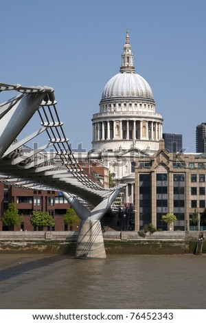 St Paul's Cathedral, view from Millennium bridge - stock photo