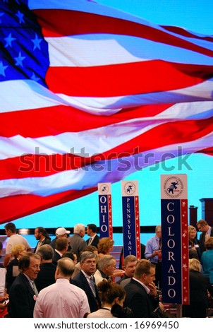 ST PAUL - SEPT 3: Delegates from swing states Ohio, Pennsylvania and Colorado gather inside the Republican National Convention at the Xcel Energy Center on September 3, 2008 in St Paul. - stock photo